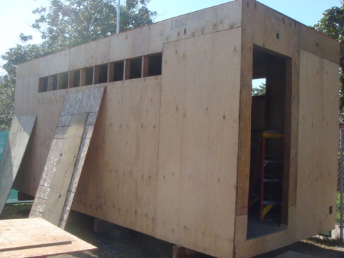 Construction Trailer - Built onsite with recycled material